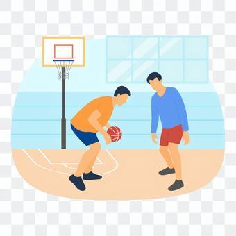 一個人在室內打籃球
