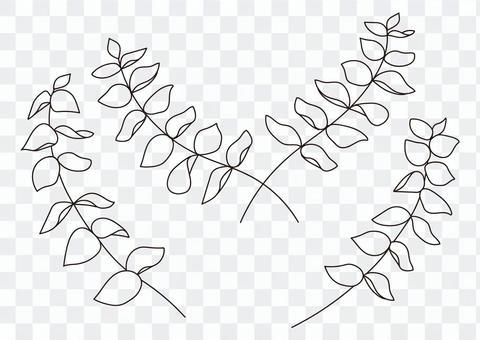 桉樹枝線畫單色素材套裝