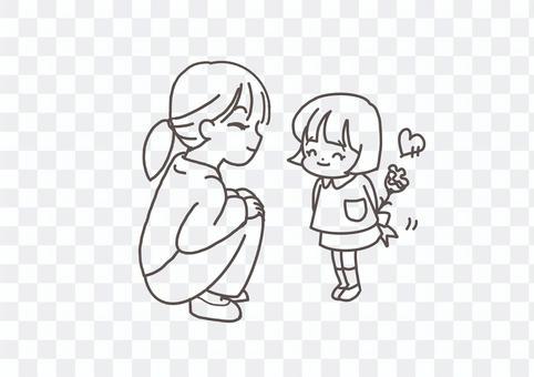 母親節送康乃馨的幼兒園兒童的線條藝術