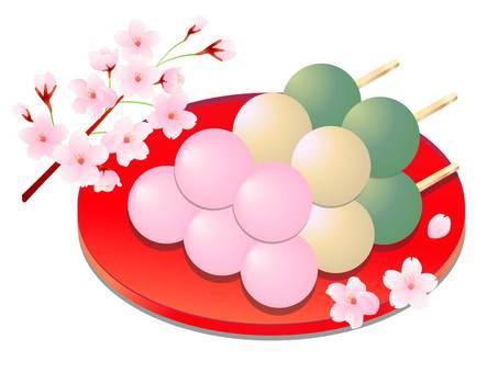 5個三色餃子和櫻花