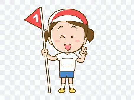 在運動會上獲得第一名的女孩_009