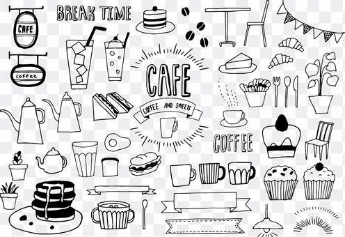 咖啡廳手繪插圖素材