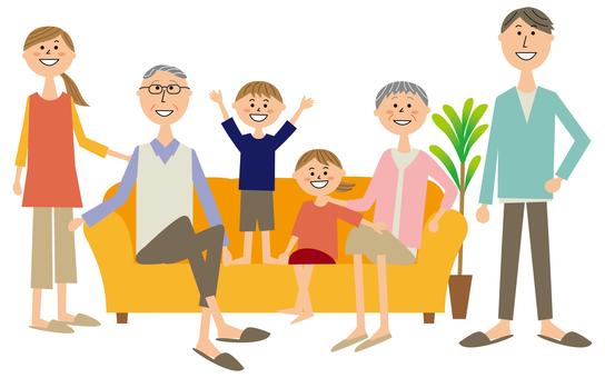 3 generation family sitting on the sofa