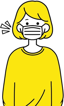 戴面具的婦女清潔設計黃色