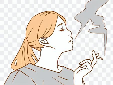 抽煙(簡單)的婦女