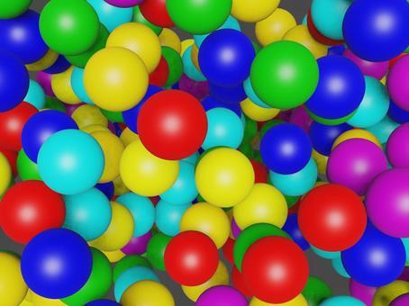 許多隨機放置的彩虹色球體