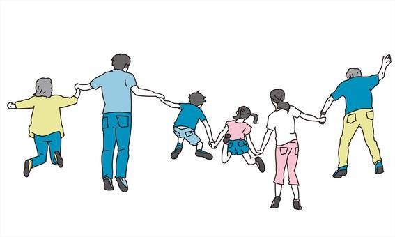 三代家庭跳躍的背影