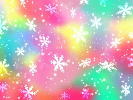 七彩極光彩色冬季壁紙