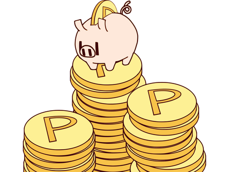 Pig piggy bank to collect points C