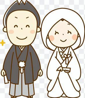 新娘和新郎在和服