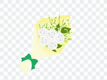 白いバラの花束_黄色包装