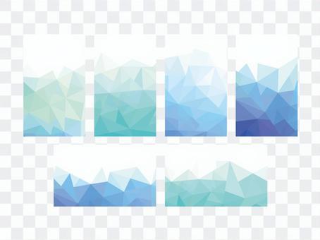 Business card size blue polygon pattern frame card
