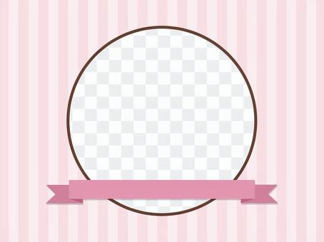 粉紅絲帶的圓形框架