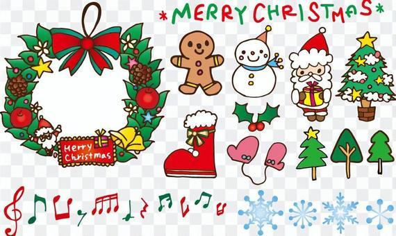 手繪風聖誕插畫集合