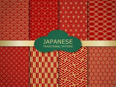 日本模式無縫模式 (朱紅色)