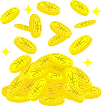 一堆日元硬幣