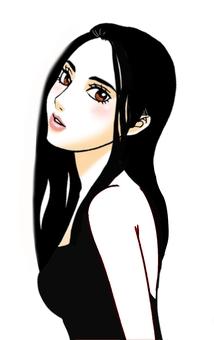 一个黑色礼服的女人
