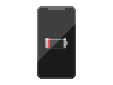 The screen of a smartphone that is out of charge