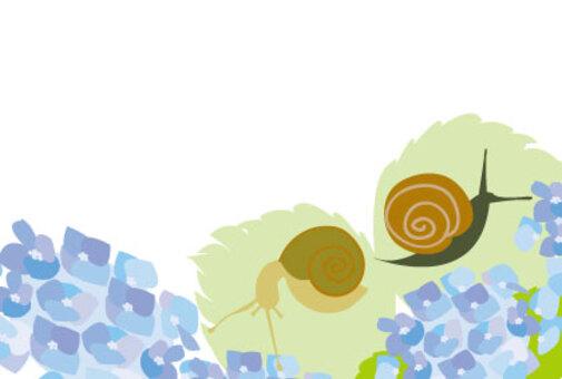 繡球花和蝸牛留言卡