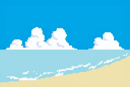 Dot painting background material sea sky beach
