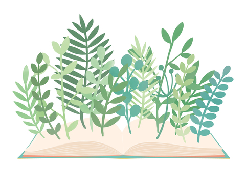 책과 식물의 자연 소재
