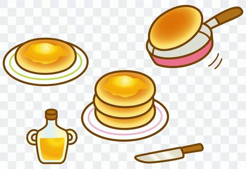 Hot cake and maple syrup