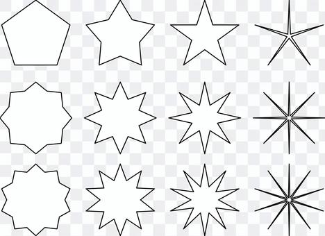 設置黑色線條,如星光閃閃的刺
