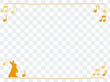 Crayon frame with yellow rabbit and mp