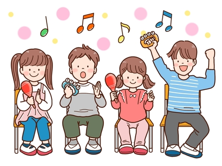 Children playing with musical instruments