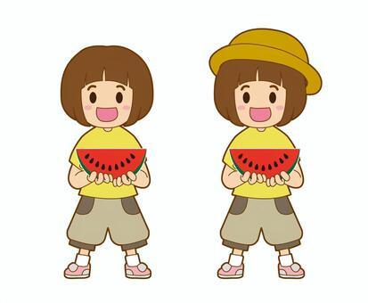 一個西瓜的小女孩