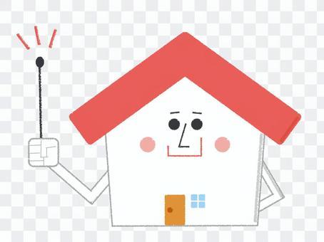 指向標尺紅色的家庭字符