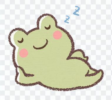 眠るカエル