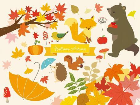 秋季動物和植物插圖(5)