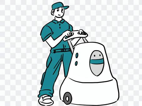 清潔工和機器人吸塵器
