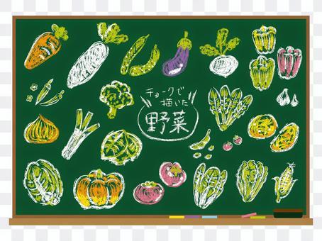 黑板上畫的蔬菜