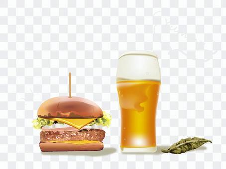漢堡包和啤酒圖