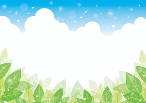 Green leaves and blue sky background 01