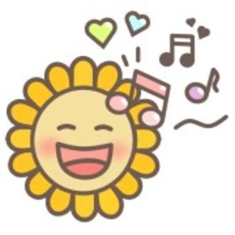 向日葵花植物臉微笑音符
