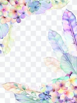 繡球和羽毛的植物框架2