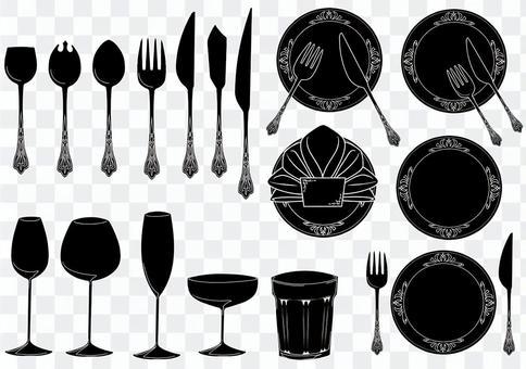 Cutlery illustration (Western-style tableware) ver Black