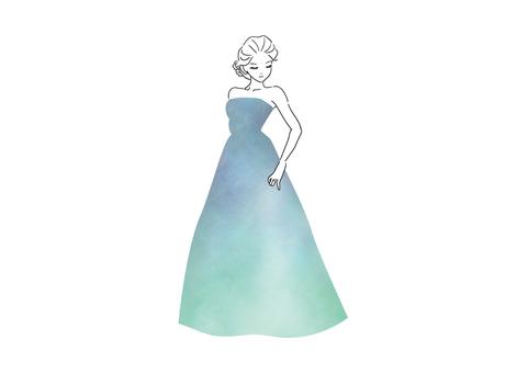 穿藍色連衣裙的女人