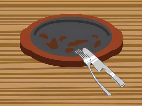 吃完了漢堡牛排鐵板的插圖