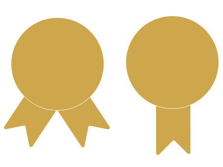 獎牌用絲帶的剪影插圖