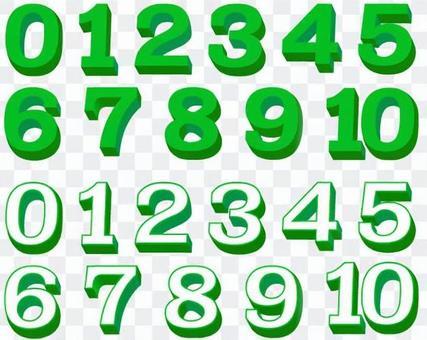 Three-dimensional figure · green