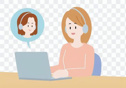 一個女人在計算機上撥打遠程電話