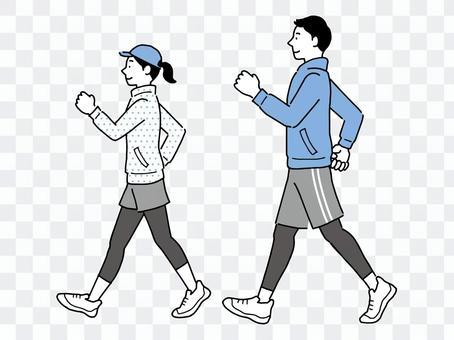 為健康而行走的男人和女人