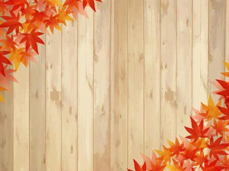 秋葉/水彩風格畫框05 /楓木紋