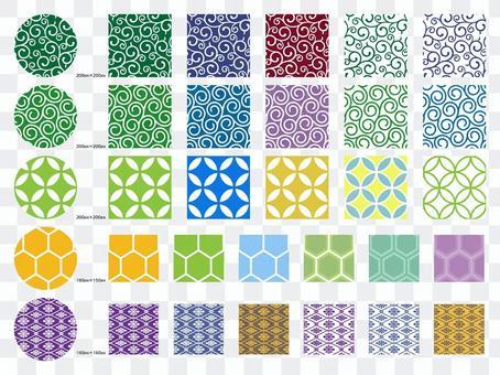 수화 무늬 패턴 집 당초 칠보 · 귀갑 · 마름 문양