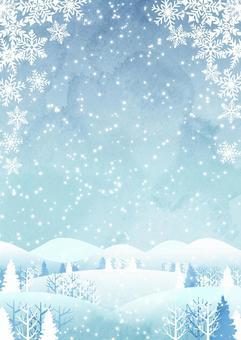 水彩風冬の里山背景タテ