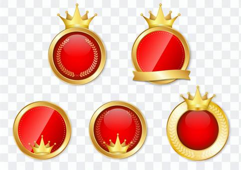 Red and gold medal set